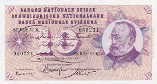 1963 Switzerland 10 Franken Banknote photo