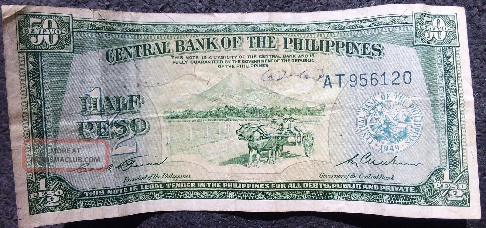 Half Peso Bill Central Bank Of The Philipines 1949
