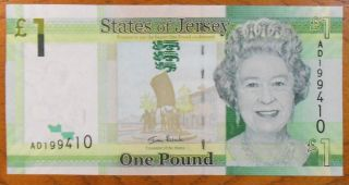 Jersey Pk 32 Nd (2010) 1 Pound Banknote photo
