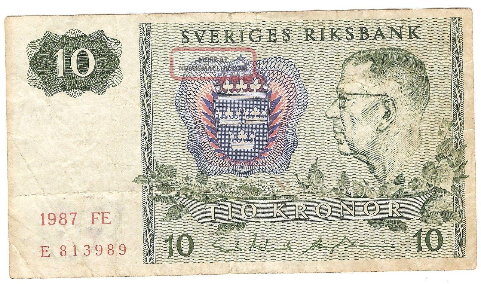 10 Kroner From Sweden 1987 Europe photo