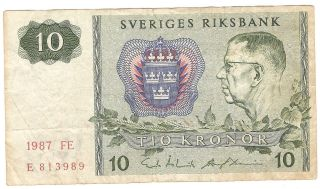10 Kroner From Sweden 1987 photo