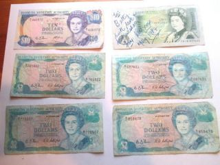 Bermuda 4 Two Dollars,  1 Ten Dollars 1 Pound England photo