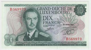Luxembourg 10 Francs 1967 P - 53 Gem Unc photo