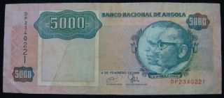 Angola 5000 Kwanzas 1991,  Pick 130c. ,  Rare photo