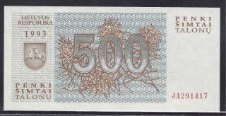 Lithuania 1993 - 500 Talonu.  Uncirculated.  Pick 46 photo