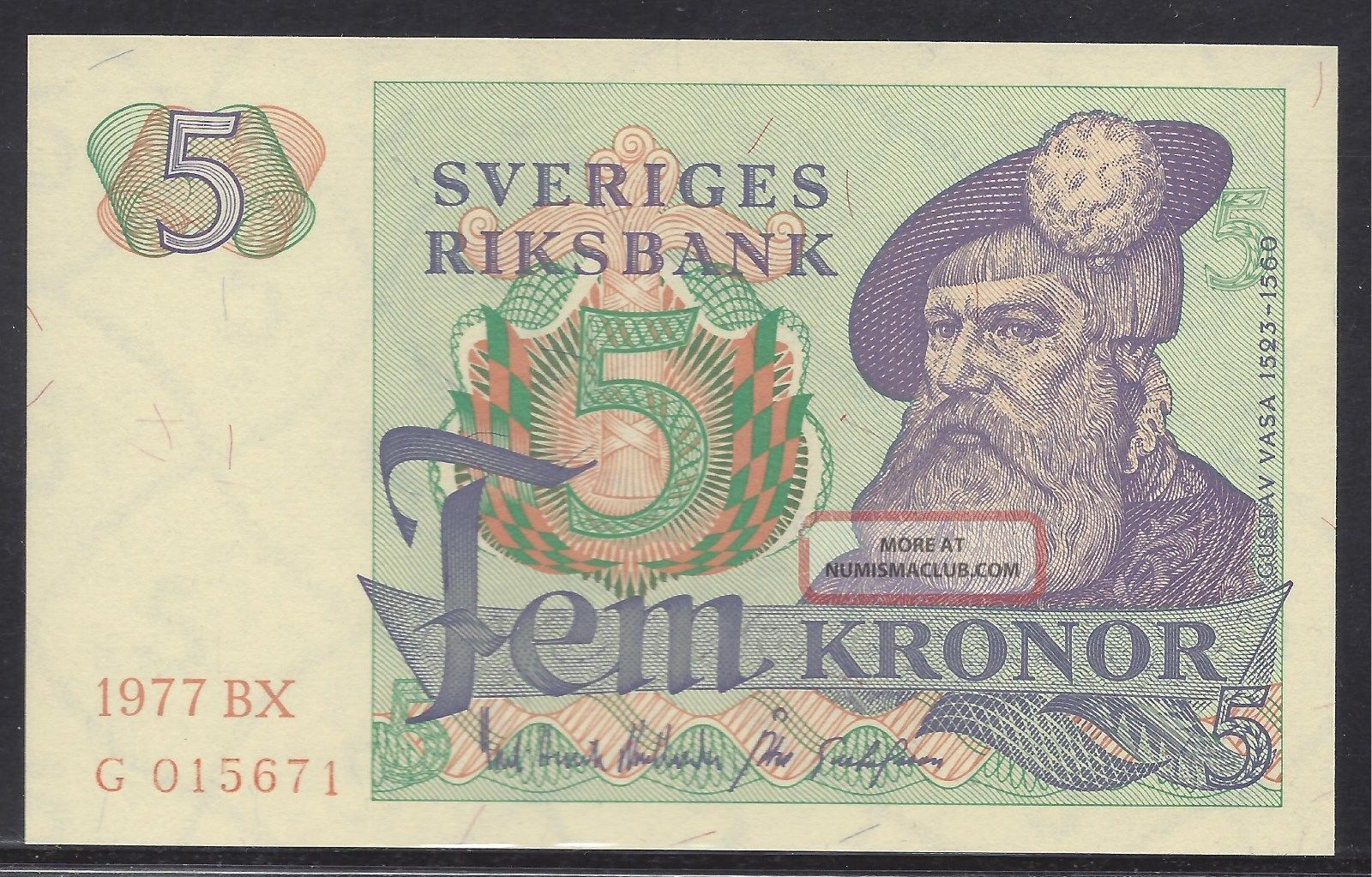 Sweden 1977 - 5 Kronor.  Uncirculated.  Pick 51d Europe photo
