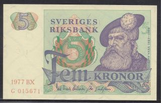 Sweden 1977 - 5 Kronor.  Uncirculated.  Pick 51d photo