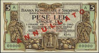 Albania 5 Leke 1925 Specimen (reprint). photo