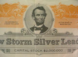 1924 Snow Storm Silver Lead Co Troy Montana Stock Certificate Spokane Wa photo