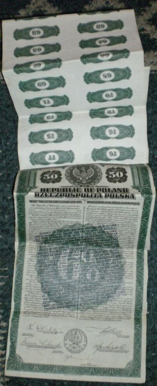 1920 Republic Of Poland 20 Year $50 Gold Bond American Bank Note Co 38 Coupons photo