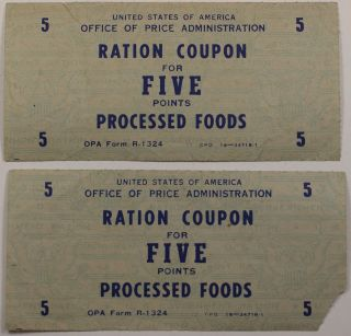 Two Ration Coupons World War Two Five Points For Processed Foods photo