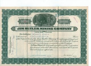 Historic Jim Butler Mining Stock 1924,  Extra Documents Vf N/r photo
