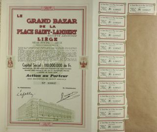 S685 Le Grand Bazar De La Place Saint - Lambert Department Store 1944 Bond Cert photo