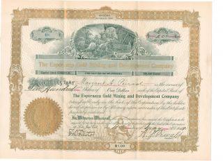 Rare 1909 Esperanza Gold Mining And Development Co.  Arizona Territory Vf N/r photo