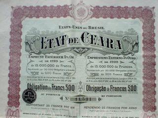 Brazil 5 Gold Oro Bond 500 Francs Etat De Ceara 1910 Uncancelled,  Coupons photo