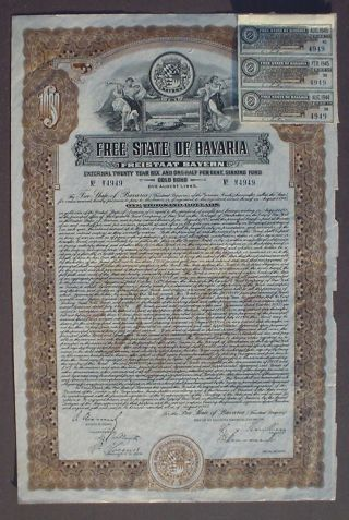 German Government State Bavaria 6 - 1/2 Gold Bond 1000 Us$ 1925 Uncanc,  Coupons photo