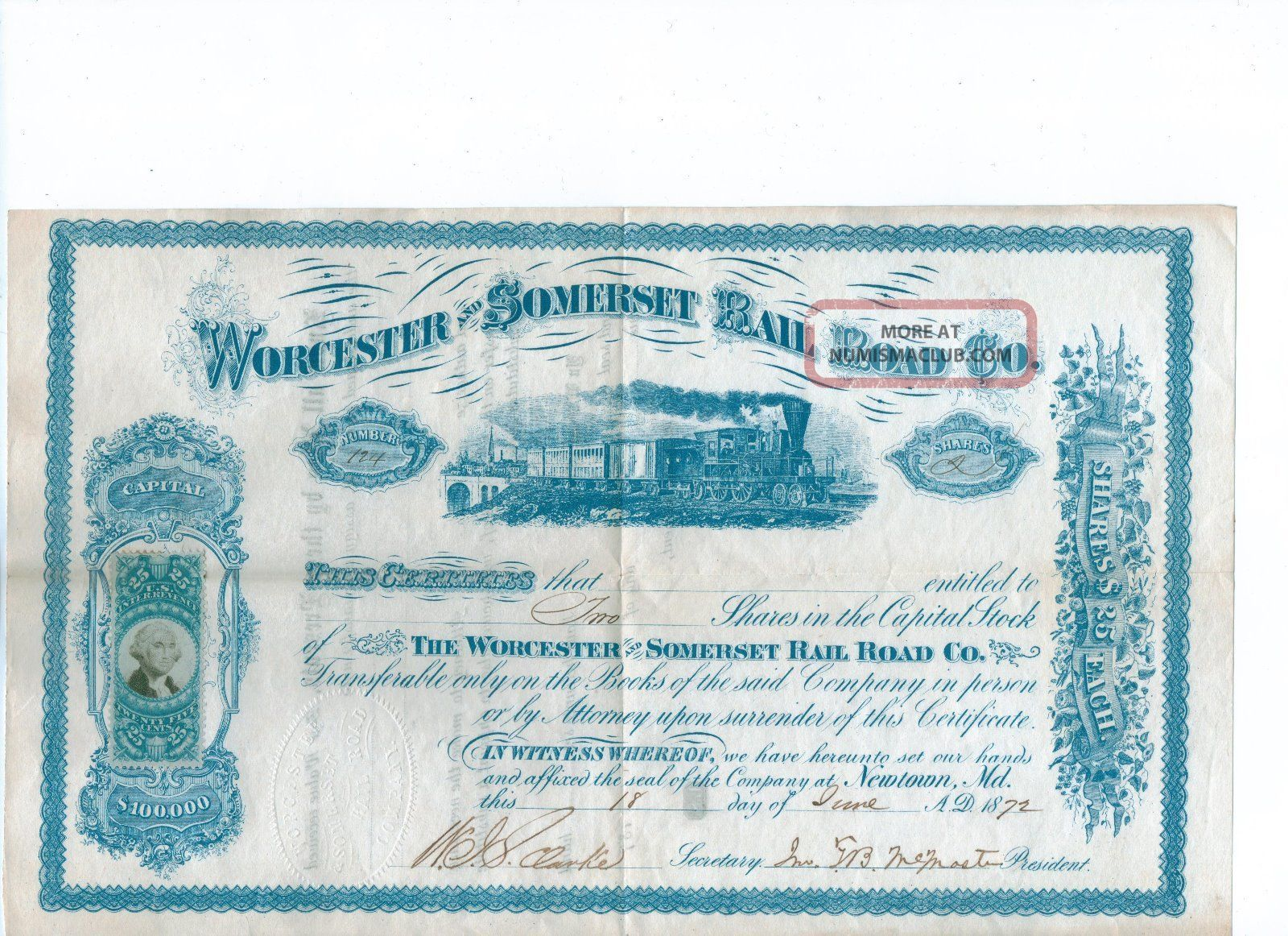 Worcester And Somerset Rail Road Company 1872 Uncanceled Very Fine World photo
