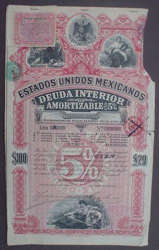 Mexico 5 Bond 20 £ Deuda Interior Amortizable Letra A 1895 Uncancelled Coupons photo