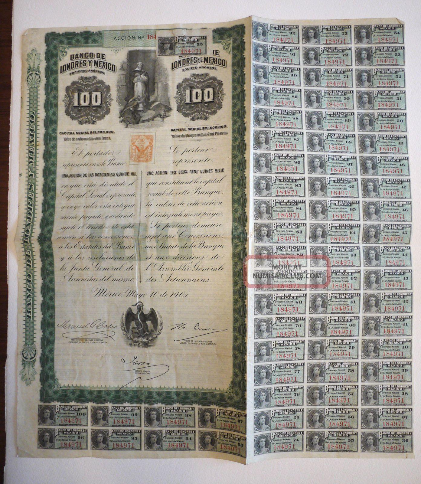 Banco De Londres Y Mexico Victoria Queen 100$ Green 1905 With 66 Coupons. Stocks & Bonds, Scripophily photo