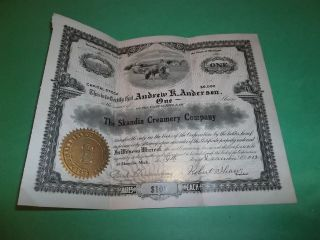 The Scandia Creamery Company 1912 Capital Stock Certificate 13 photo
