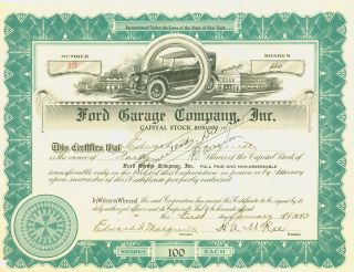 1925 Green Stock Certificate - Ford Garage Company,  Inc. photo