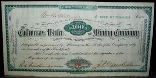 1882 Dated Certificate For 100 Shares In The Calaveras Water & Mining Co.  - Issued photo