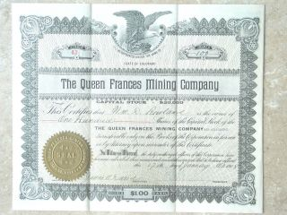 Stock Certificate 100 Shares Queen Frances Mining Colorado 1908,  Crisp Paper photo
