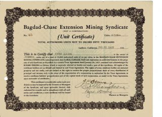 Bagdad - Chase Extension Mining Syndicate Circulated Unit Certificate And Letter photo