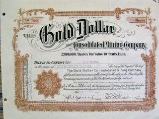 Cripple Creek Colorado Colo Gold Mining Stock Certificate Gold Dollar Cmc photo