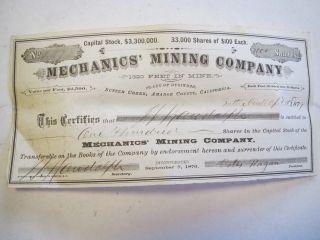 Mechanics Mining Co Sutter Creek Ca 100 Shares Stock Certificate 1877 photo
