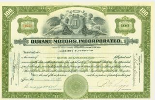 1928 Stock Certificate - Durant Motors Incorporated (olive Green) photo