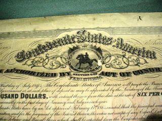 Confederate $1000 6 Per Annum Bond Coupons Certificate photo