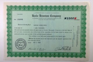 Ucolo Uranium Company,  Stock Certificate,  Utah,  1958 photo