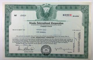 Alaska International Corporation,  Stock Certificate,  Nevada 1961 photo