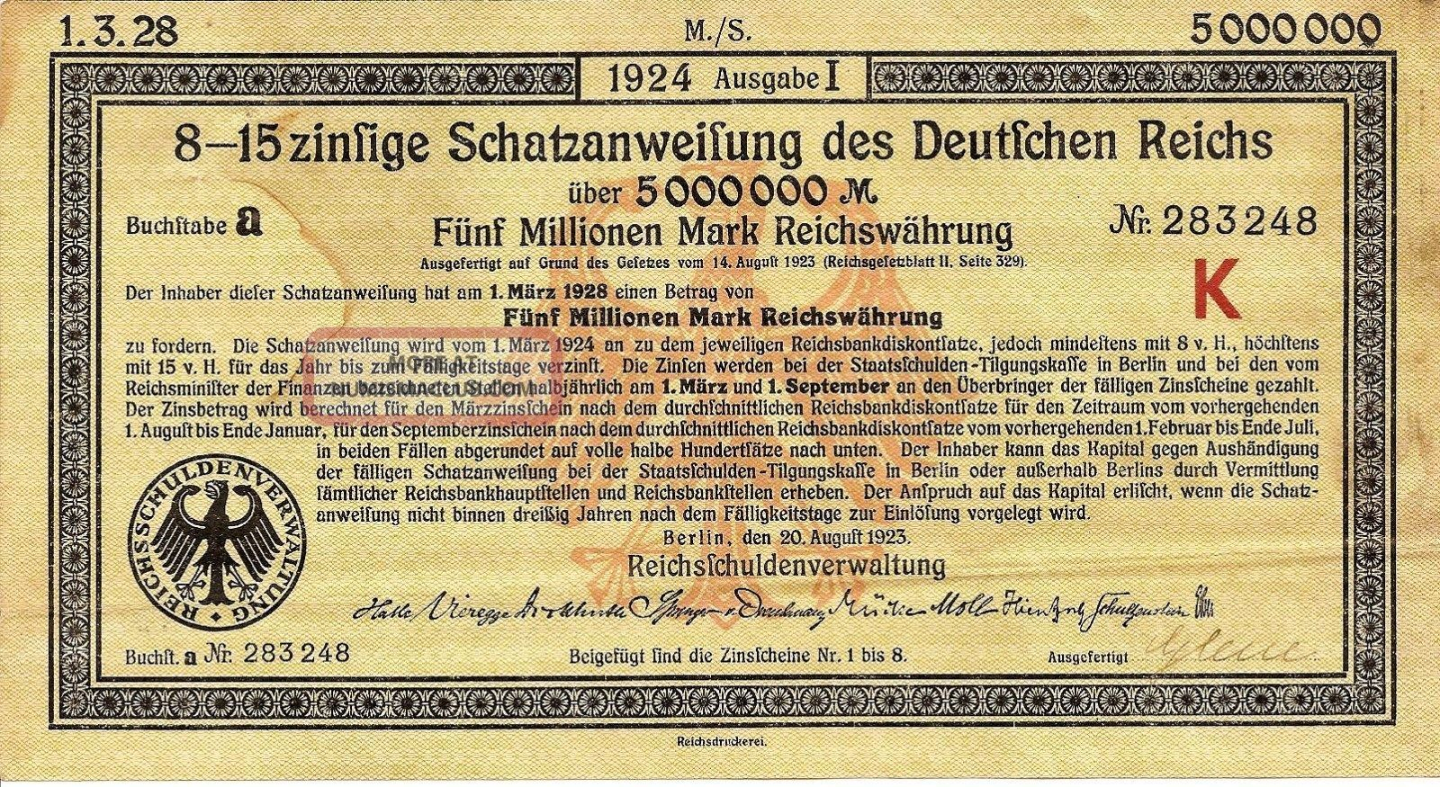 German Deutfchen Reichs Bond 5000000 Mark 1924 Issue W Coupons World photo