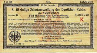 German Deutfchen Reichs Bond 5000000 Mark 1924 Issue W Coupons photo