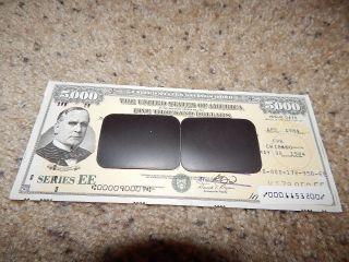 Us Savings Bond Series Ee Presidential $5,  000 Mckinley 1984 photo