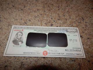 Us Savings Bond Series E Presidential $1,  000 Lincoln 1978 Reissued 1998 photo