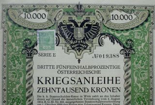 3th Austrian Government 5 1/2 War Loan 10000 Crowns Vienna 1915 Uncanc,  Coupons photo