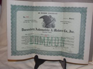 Vintage 1921 Duesenberg Automobile & Motors Co.  Inc.  Stock Certiicate 1 Shares photo