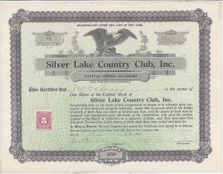 Silver Lake Country Club Stock Certificate,  1916,  Perry,  York Country Club photo
