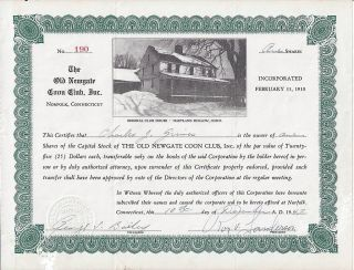 Old Newgate Coon Club,  Inc.  Stock Certificate 1947 Hartland Hollow,  Connecticut photo