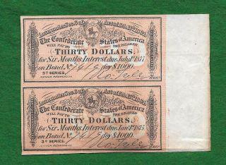 1877 & 1875 Us Confederate $30 Dollars Bond War Currency Money Uncut photo