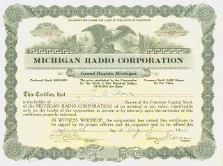 1924 Stock Certificate - Michigan Radio Corporation – Grand Rapids,  Michigan photo