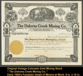 Vintage Early 1900 ' S Colorado Gold Mining Stock Certificate Cowboy Era photo