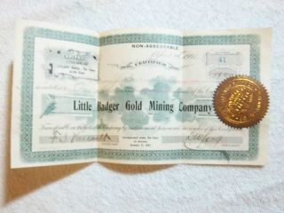 1901 Little Badger Gold Mining Company 100 Shares Number 41 photo