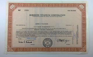 Horizons Titanium Corporation,  Stock Certificate,  Jersey photo
