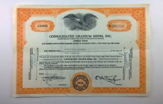 Consolidated Uranium Mines,  Inc. ,  1000 Share Stock Certificate,  Nevada photo