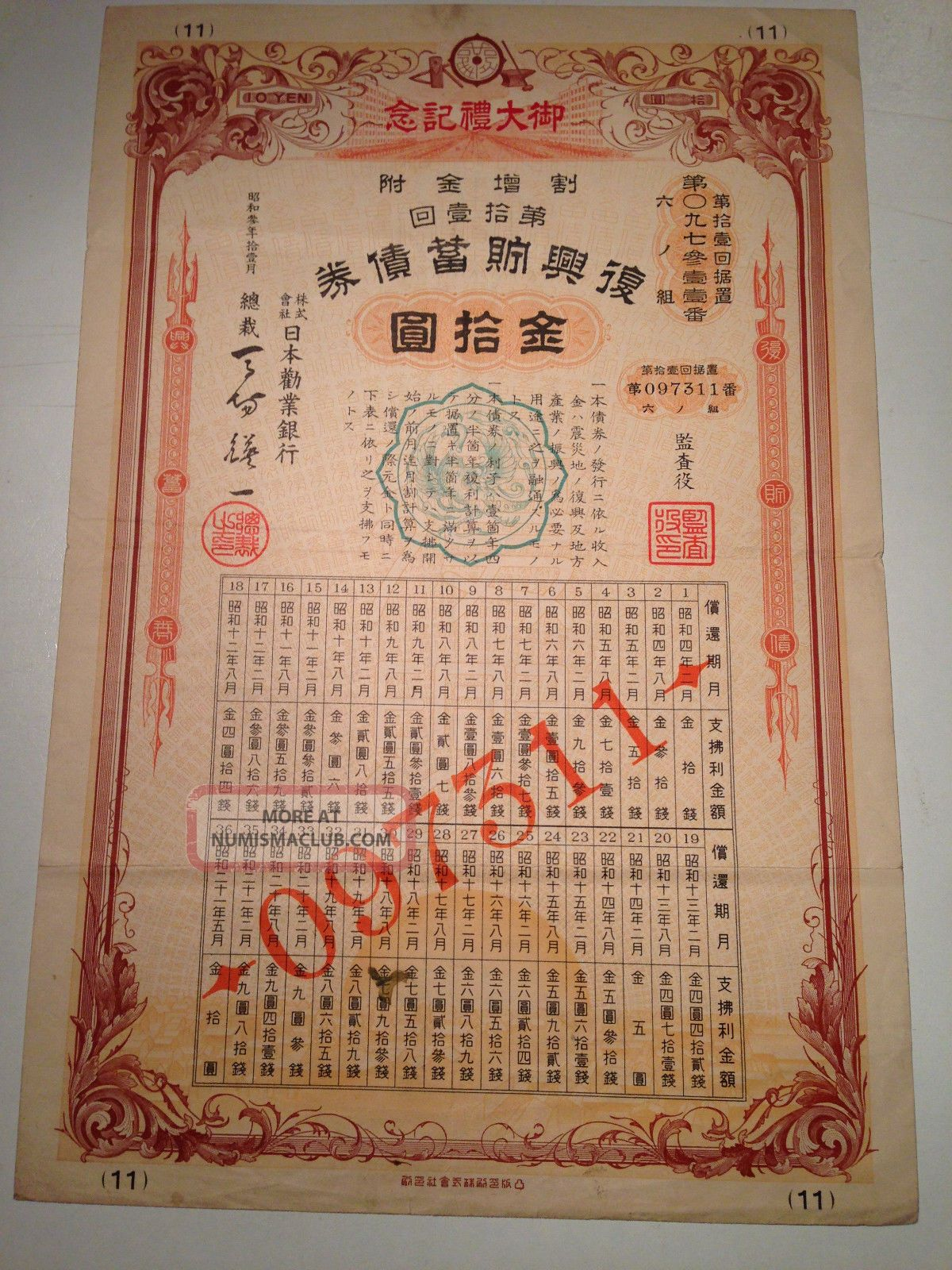 1928.  The Hypothec Bank Of Japan.  Japanese Earthquake Disaster Government Bond. World photo
