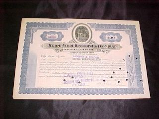 Jerome Verde Development Company Arizona Az Copper Mining Stock Certificate 2 photo